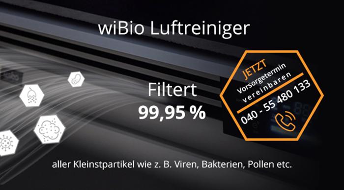 WiBio Luftreiniger | Filtert 99,95% aller Kleinstpartikel wie z.B. Viren, Bakterien, Polen etc.